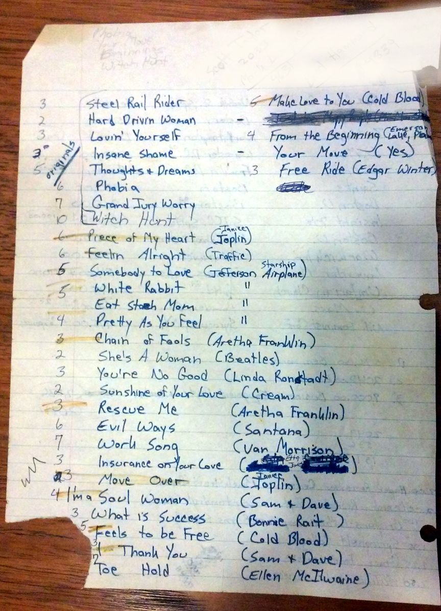 Original 1977 Song list