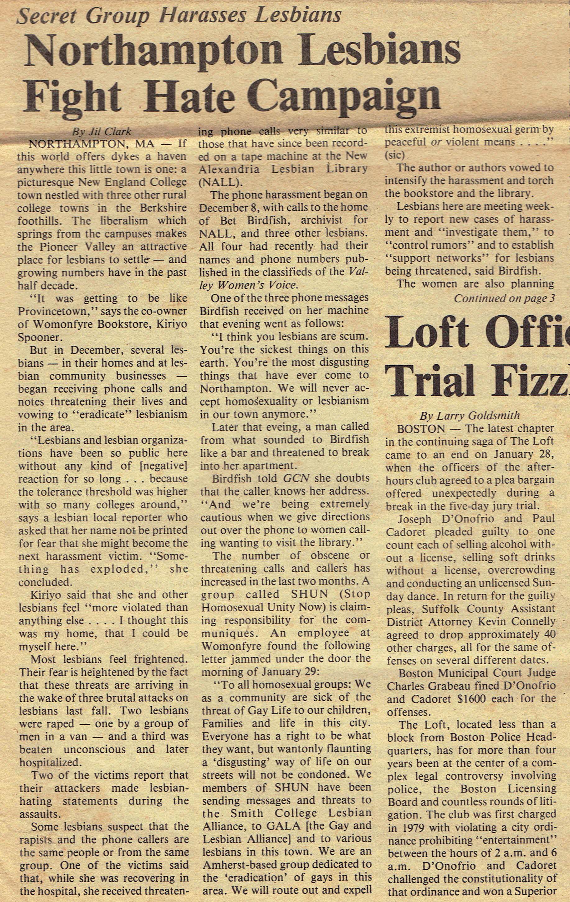 . Gay Community News. Boston, MA. Feb. 12, 1983.